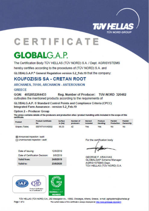 certificate from global gap for Cretan root